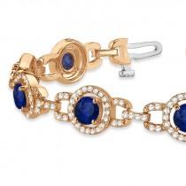 Luxury Halo Blue Sapphire & Diamond Link Bracelet 18k Rose Gold (8.00ct)