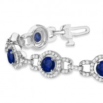 Luxury Halo Blue Sapphire & Diamond Link Bracelet 18k White Gold (8.00ct)