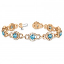Luxury Halo Blue Topaz & Diamond Link Bracelet 14k Rose Gold (8.00ct)