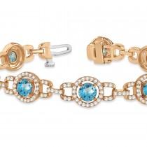 Luxury Halo Blue Topaz & Diamond Link Bracelet 14k Rose Gold (8.00ct)