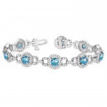 Luxury Halo Blue Topaz & Diamond Link Bracelet 14k White Gold (8.00ct)