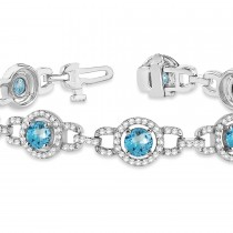 Luxury Halo Blue Topaz & Diamond Link Bracelet 14k White Gold (8.00ct)|escape