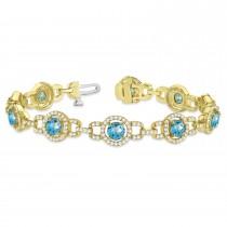 Luxury Halo Blue Topaz & Diamond Link Bracelet 14k Yellow Gold (8.00ct)