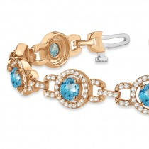 Luxury Halo Blue Topaz & Diamond Link Bracelet 18k Rose Gold (8.00ct)