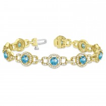 Luxury Halo Blue Topaz & Diamond Link Bracelet 18k Yellow Gold (8.00ct)