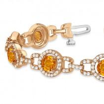 Luxury Halo Citrine & Diamond Link Bracelet 14k Rose Gold (8.00ct)