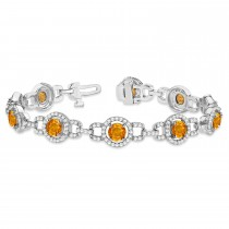 Luxury Halo Citrine & Diamond Link Bracelet 14k White Gold (8.00ct)