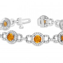 Luxury Halo Citrine & Diamond Link Bracelet 14k White Gold (8.00ct)|escape