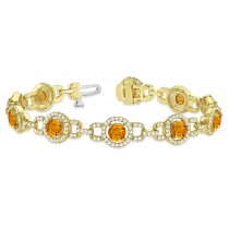 Luxury Halo Citrine & Diamond Link Bracelet 14k Yellow Gold (8.00ct)