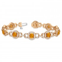 Luxury Halo Citrine & Diamond Link Bracelet 18k Rose Gold (8.00ct)
