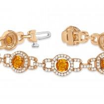 Luxury Halo Citrine & Diamond Link Bracelet 18k Rose Gold (8.00ct)