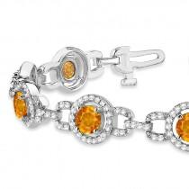 Luxury Halo Citrine & Diamond Link Bracelet 18k White Gold (8.00ct)