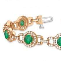 Luxury Halo Emerald & Diamond Link Bracelet 14k Rose Gold (8.00ct)