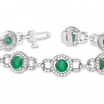 Luxury Halo Emerald & Diamond Link Bracelet 14k White Gold (8.00ct)