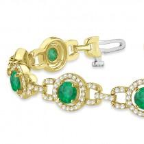 Luxury Halo Emerald & Diamond Link Bracelet 14k Yellow Gold (8.00ct)