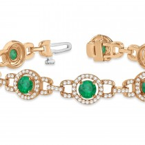 Luxury Halo Emerald & Diamond Link Bracelet 18k Rose Gold (8.00ct)
