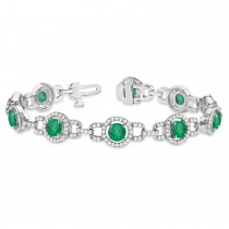 Luxury Halo Emerald & Diamond Link Bracelet 18k White Gold (8.00ct)