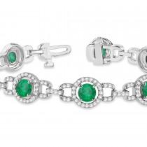 Luxury Halo Emerald & Diamond Link Bracelet 18k White Gold (8.00ct)