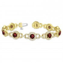 Luxury Halo Garnet & Diamond Link Bracelet 14k Yellow Gold (8.00ct)
