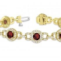 Luxury Halo Garnet & Diamond Link Bracelet 14k Yellow Gold (8.00ct)