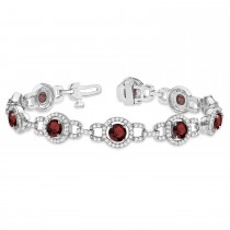 Luxury Halo Garnet & Diamond Link Bracelet 18k White Gold (8.00ct)