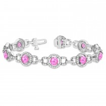 Pink Sapphire Halo Luxury Link Bracelet 14k White Gold (8.00ct)