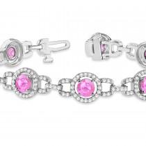 Pink Sapphire Halo Luxury Link Bracelet 14k White Gold (8.00ct)