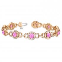 Pink Sapphire Halo Luxury Link Bracelet 18k Rose Gold (8.00ct)
