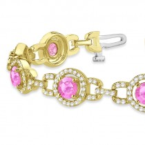 Pink Sapphire Halo Luxury Link Bracelet 18k Yellow Gold (8.00ct)