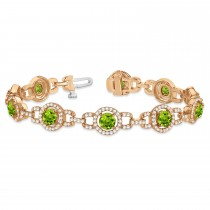 Luxury Halo Peridot & Diamond Link Bracelet 14k Rose Gold (8.00ct)