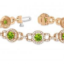 Luxury Halo Peridot & Diamond Link Bracelet 14k Rose Gold (8.00ct)