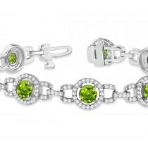 Luxury Halo Peridot & Diamond Link Bracelet 14k White Gold (8.00ct)