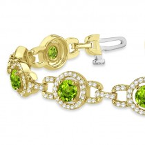 Luxury Halo Peridot & Diamond Link Bracelet 18k Yellow Gold (8.00ct)