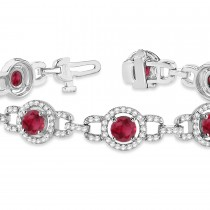 Luxury Halo Ruby & Diamond Link Bracelet 14k White Gold (8.00ct)