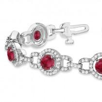 Luxury Halo Ruby & Diamond Link Bracelet 14k White Gold (8.00ct)