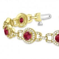 Luxury Halo Ruby & Diamond Link Bracelet 14k Yellow Gold (8.00ct)