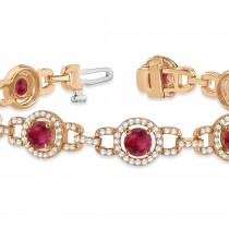 Luxury Halo Ruby & Diamond Link Bracelet 18k Rose Gold (8.00ct)