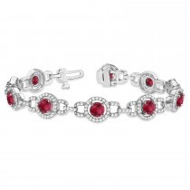 Luxury Halo Ruby & Diamond Link Bracelet 18k White Gold (8.00ct)
