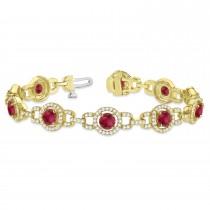 Luxury Halo Ruby & Diamond Link Bracelet 18k Yellow Gold (8.00ct)