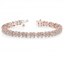 Diamond Floral Style Tennis Bracelet 18k Rose Gold (4.16ct)