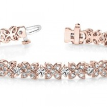 Diamond Floral Style Tennis Bracelet 18k Rose Gold (4.16ct)