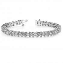 Diamond Floral Style Tennis Bracelet 18k White Gold (4.16ct)