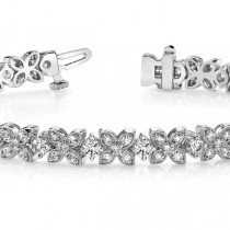 Diamond Floral Style Tennis Bracelet 18k White Gold (4.16ct)