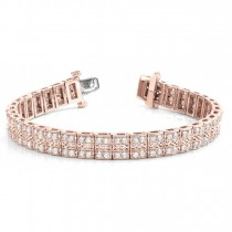 Diamond Multi-Row Link Bracelet 18k Rose Gold (1.98ct)