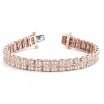 Diamond Multi-Row Link Bracelet 18k Rose Gold (1.98ct)