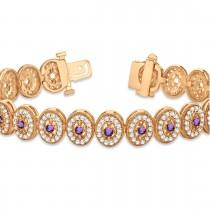 Amethyst Halo Vintage Bracelet 18k Rose Gold (6.00ct)