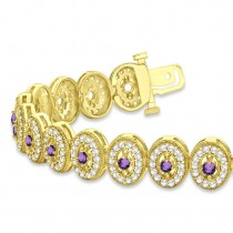 Amethyst Halo Vintage Bracelet 18k Yellow Gold (6.00ct)