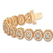Aquamarine Halo Vintage Bracelet 18k Rose Gold (6.00ct)