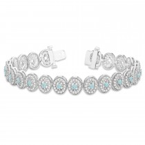 Aquamarine Halo Vintage Bracelet 18k White Gold (6.00ct)