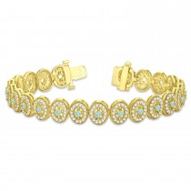 Aquamarine Halo Vintage Bracelet 18k Yellow Gold (6.00ct)